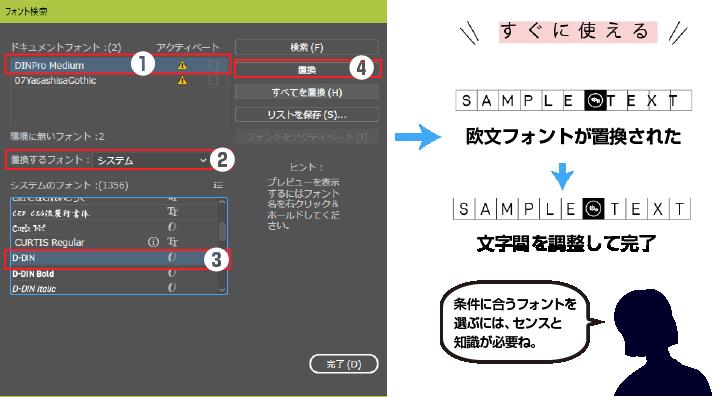 システムフォントから置換えするフォントを選択し、置換をクリックして完了